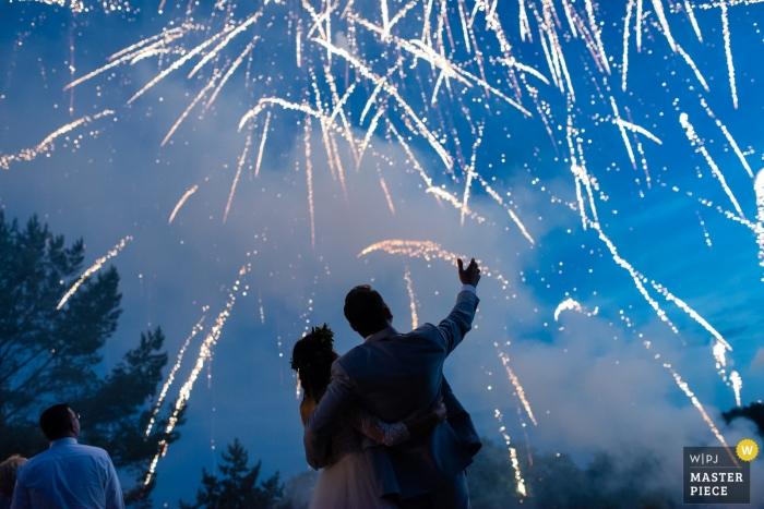 Pomorskie Hochzeitsfotograf - Gartenempfang Hochzeitsfeuerwerk