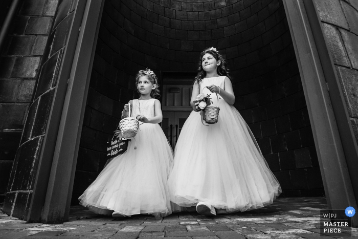 Ceremony/Reception Venue Photographer   Flower girls make their way to the ceremony at start of ceremony