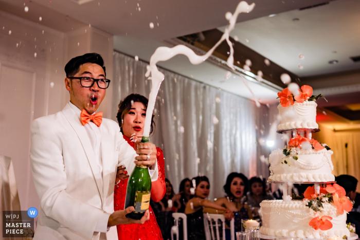 CA wedding photographer: Wedding Reception Venue— Champagne time
