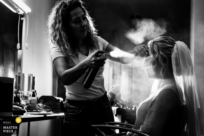 Wedding Day Photography at the Beauty Salon Bucharest — bride getting ready