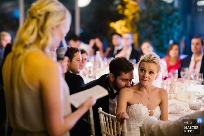 wedding photographer for: Villa La Vedetta, Florence — Bride and groom during the sisters' speech