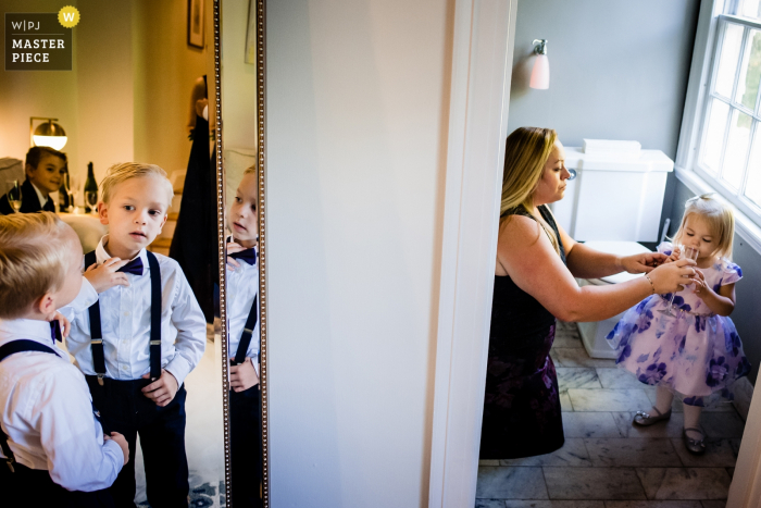 Southern Vermont Arts Center Wedding Venue — Photography of the ring bearer and flower girls get ready before the ceremony