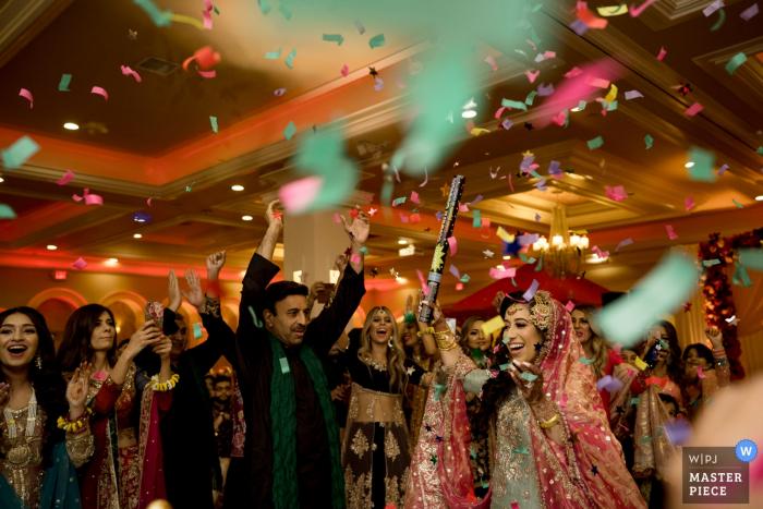 sacramento california wedding photographer at indian wedding reception dancing