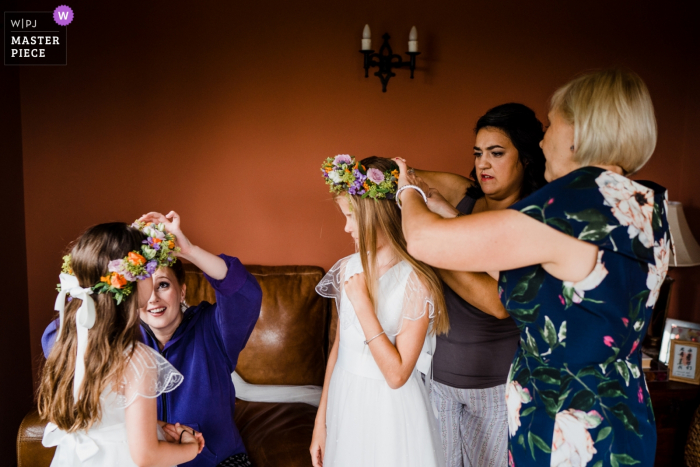 England wedding reportage photographer for West Sussex  Flower crown conundrum!