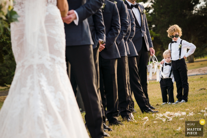 NJ Outdoor Wedding Ceremony Photographer - Ring Bearer being the coolest cat present during the ceremony