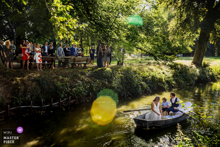 Sint-Truiden outdoor wedding party reception | Wedding boat for the bride and groom
