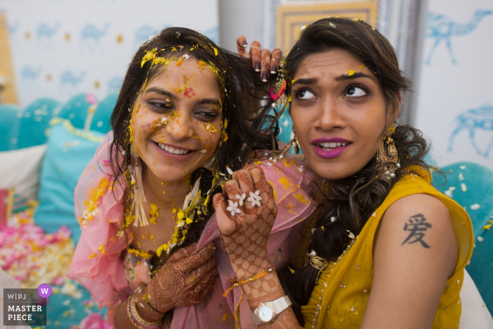Haldi ceremony on wedding day at JW Marriott hotel, Jaipur | Bride and sister in law get entangled, proving their friendship!