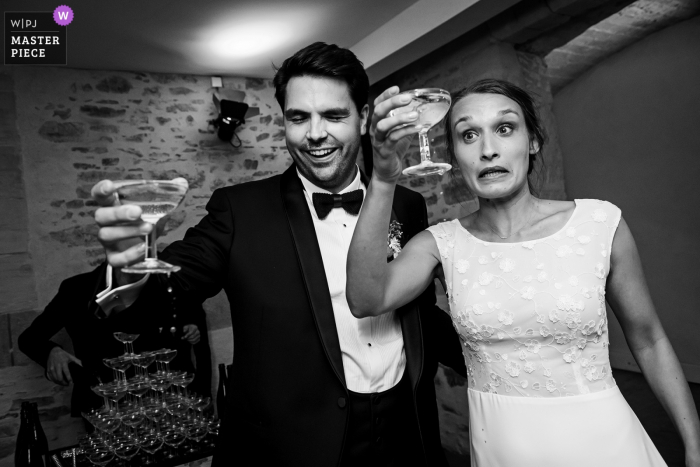 CHAMPAGNE MOMENT WEDDING PHOTOGRAPHY FROM THE VENUE CHATEAU DE VAIR, NEAR ANCENIS, LOIRE VALLEY