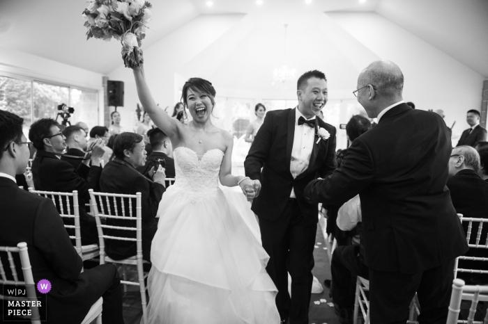 Victoria-AU Wedding ceremony celebration photography captured in black and white