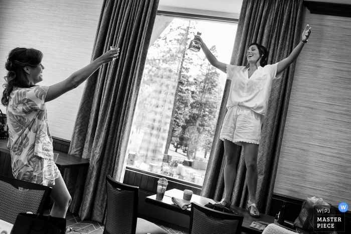 Wedding venue photography from Resort at Squaw Creek, Squaw Valley, CA | Bride performs a pre-ceremony toast.