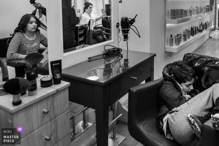 Hair Salon Miraflores Lima wedding pictures of Getting Ready with childs