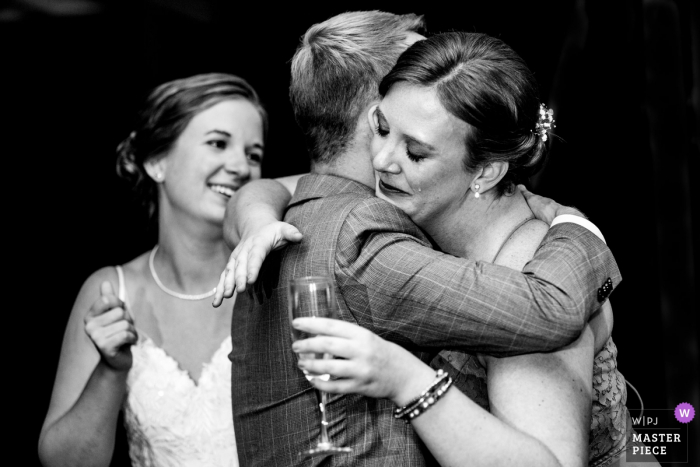 Duportail House Wayne PA wedding reception photography | Grooms sister after a toast. Caught the tear.