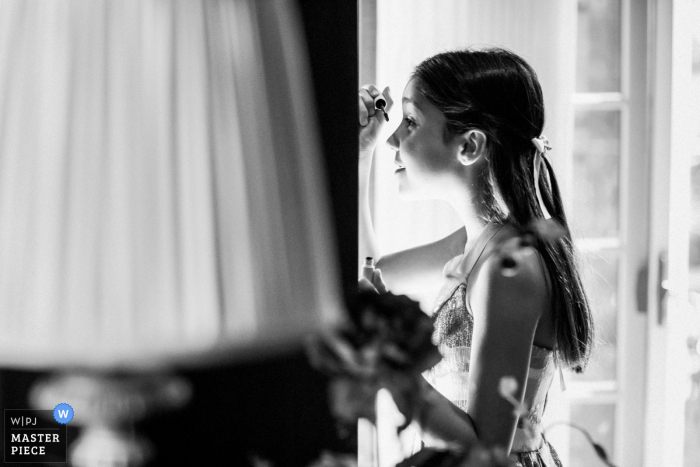 Private residence wedding photography at Saratoga | Little girl's favorite moment with makeup