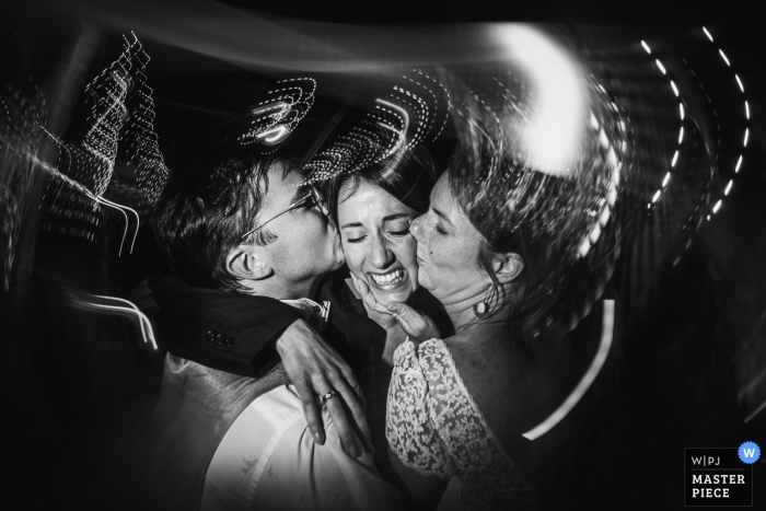Parnay, France wedding photo with slow shutter of a Hug of bride and groom