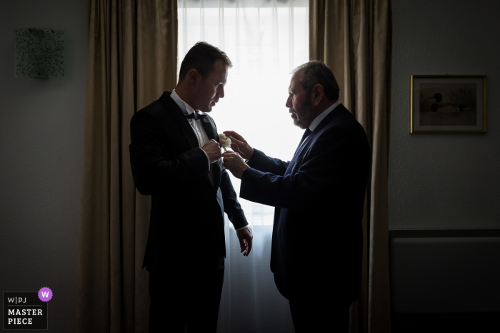 Alsace wedding ceremony preparation at hotel | Picture of the Father & Son together