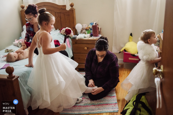 Philadelphia, PA Getting Ready pictures of the little girls before the ceremony