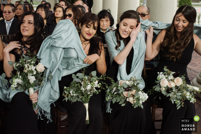 Philadelphia, PA Windy wedding ceremony photo