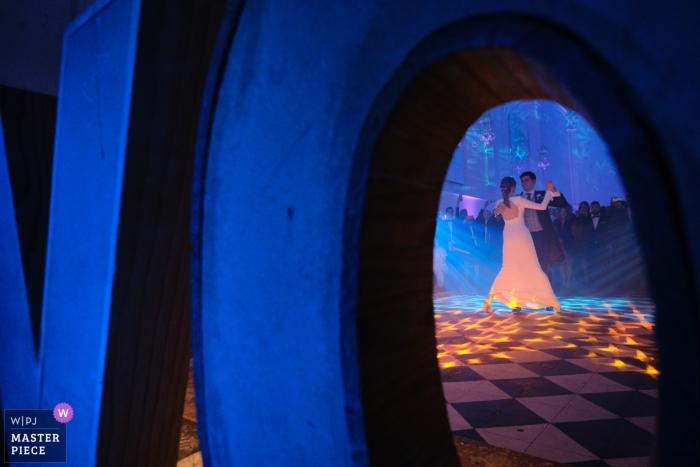 Wedding couple in bridal dance during their reception at La Cartuja de Ara Christi
