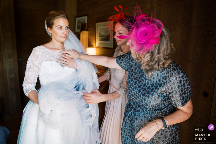 Chamonix wedding photographer - Image contains: Getting ready with mom and sister