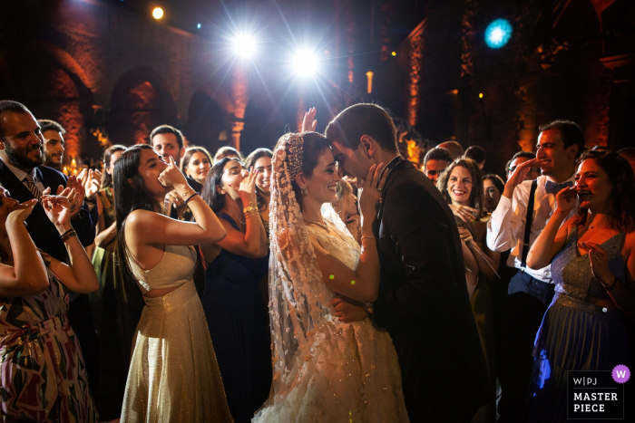 Rome Castello Odelscalchi wedding photographer: A moment during the party