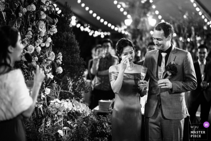 Bride cries while hearing a touching speech from her best friend and bridesmaid, the groom watched on | Wooden Fairies, Hong Kong wedding