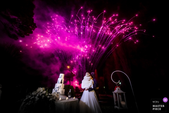 Villa Martinello Mapello wedding reception of colorful fireworks during the cake cutting.