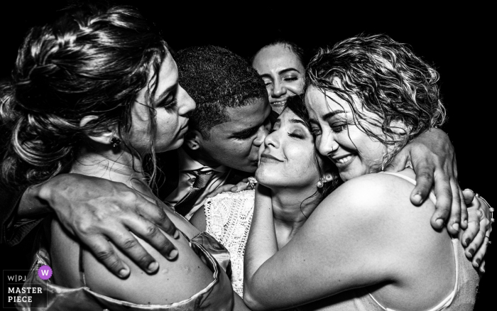 Brazil Wedding Reception Image Contains: friends demonstrating their love for the bride
