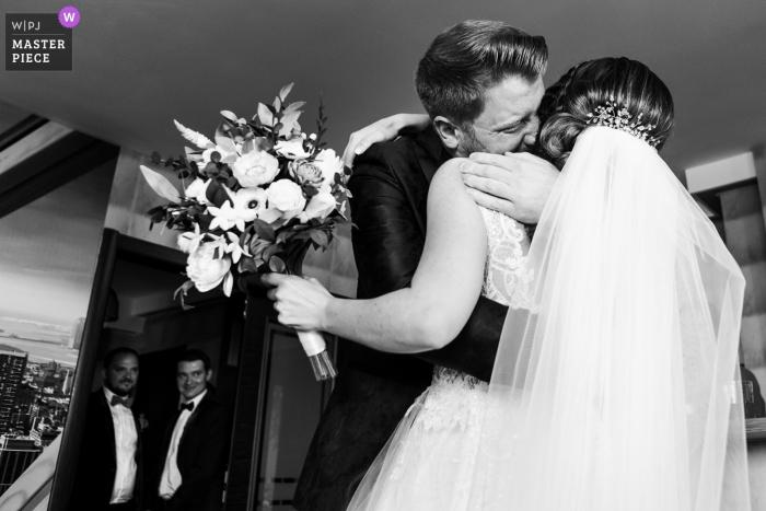 Romania Bride home image contains: Groom hugs the bride