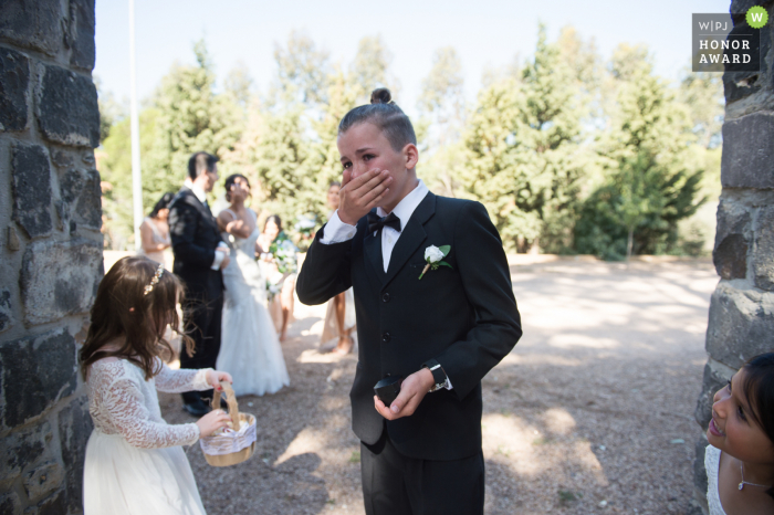 Victoria-AU wedding photojournalism - The ring bearer cried when he saw the bride.