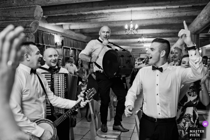 Krakow Malopolskie Reception Venue Photo - The wedding band gets the party started.