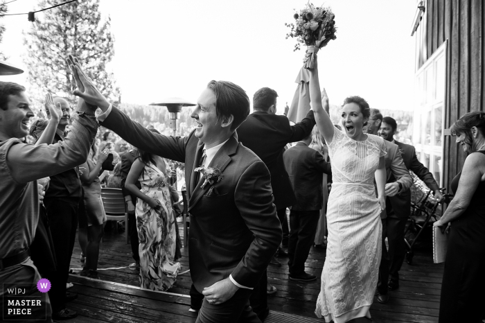 Truckee, CA wedding picture: Bride and Groom after ceremony