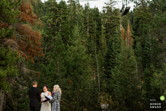 Squaw Valley Resort - Olympic Valley, CA wedding venue photo - A bride and groom elope in wooded privacy under the ski lifts at Squaw Valley Resort in Olympic Valley, CA