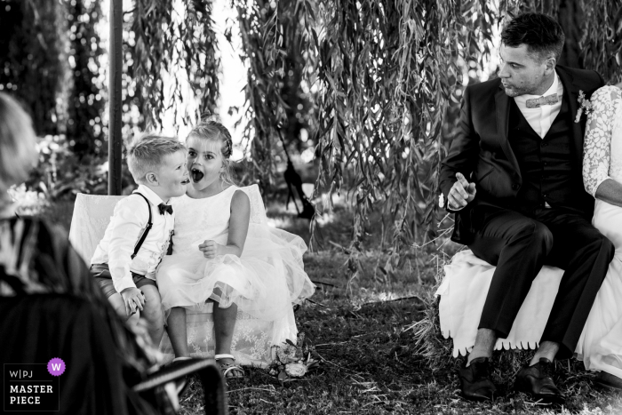 Netherlands Wedding Ceremony Photographer: The kids were having too much fun at the ceremony and were laughing out loud