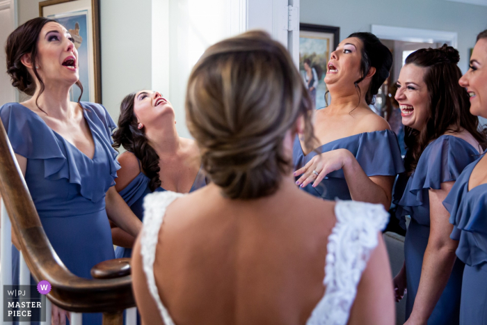 Chicago bridesmaids see the bride | IL photography before the wedding ceremony