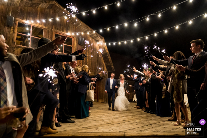 Telluride Peaks Resort wedding venue photos | Sparkler exit from CO reception