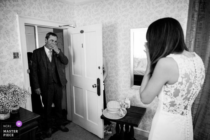 Old Rectory House, UK wedding reportage photography | Father of the Bride sees his daughter for the first time.