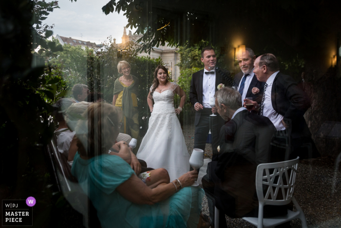 Alsace reception photography of people together at the garden wedding.