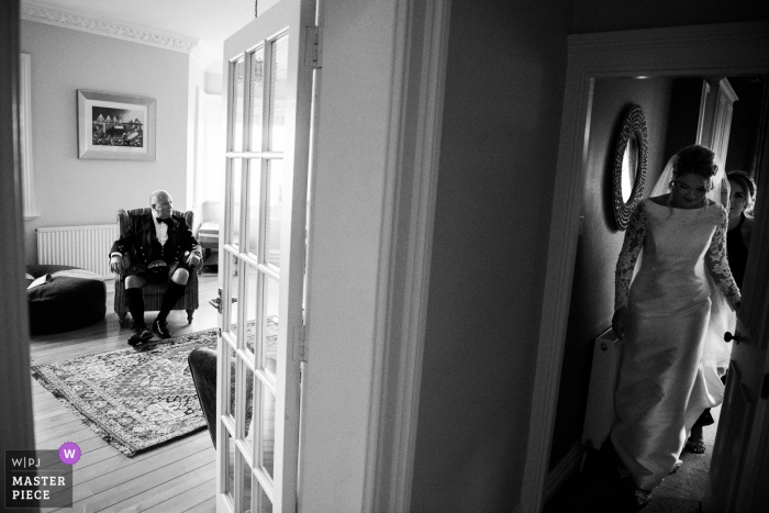 Wedding photography at a Private home in South Queensferry | Father of the bride seconds before seeing his daughter in the wedding dress