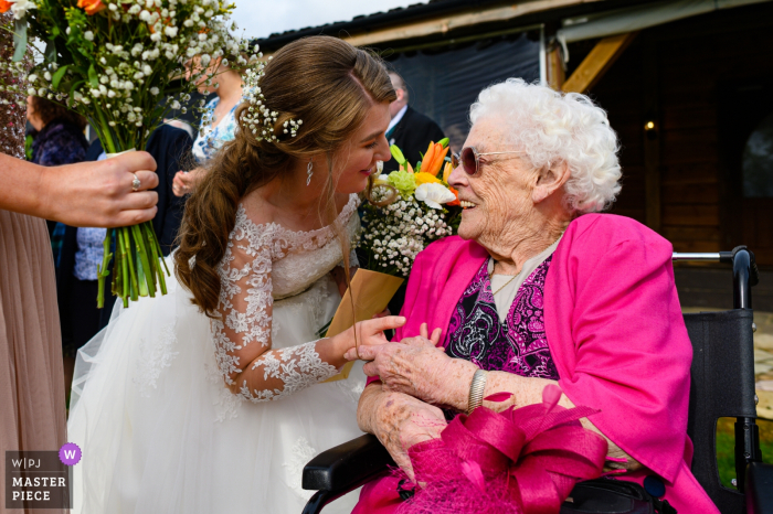 Skylark Farm, Daventry, Northamptonshire, UK | Wedding venue photography | The bride with her grandmother