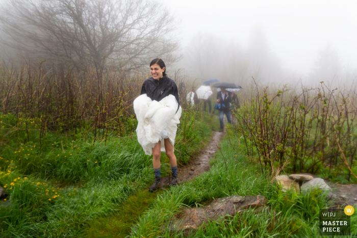 Black Balsam Knob, NC Wedding | Bride exits ceremony on mountain trail