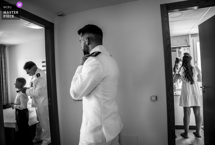Spain Wedding Image of the groom getting ready