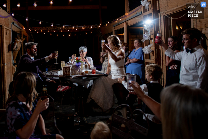 CO wedding photography from a barn in Parker during the Reception Toasts... with a secret guest... Check the back left for the horse