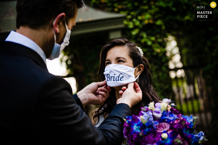 COVID Maryland wedding photo from the Goodstone Inn - With the mask...I thee wed