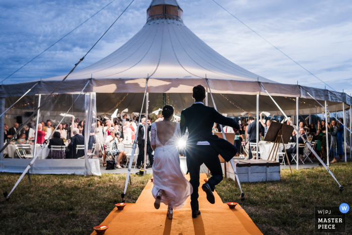 tented wedding photo from the reception at Bourges of Party time