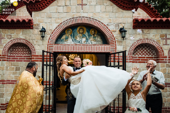 church wedding photo from Bulgaria at St. Peter and Paul`s monastery after the indoor Church ceremony