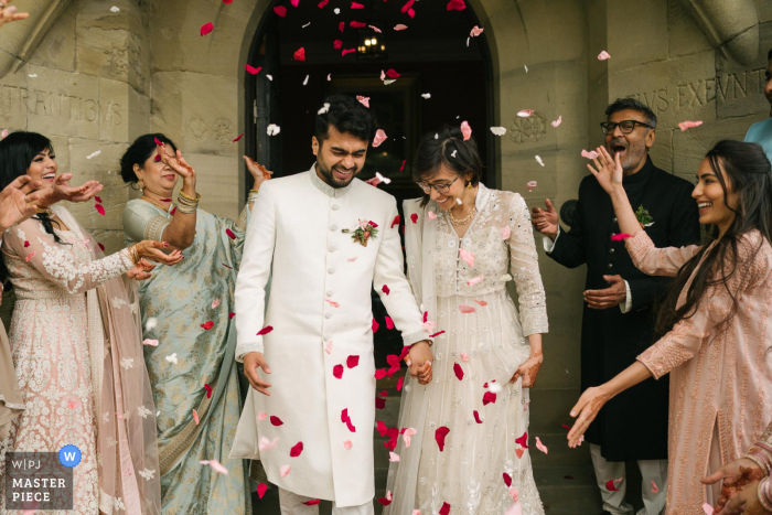 UK wedding photo of the Wales Confetti exit at Plas Dinam Country House
