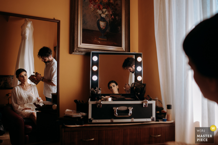 wedding photo from the Getting Ready, Villa San Giovanni, Italy of the bride's makeup