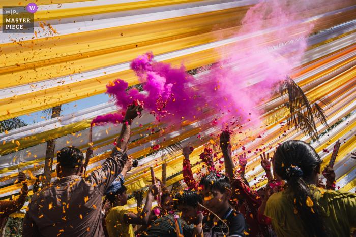 Ahmedabad, India Holi flower wedding photography under the tent