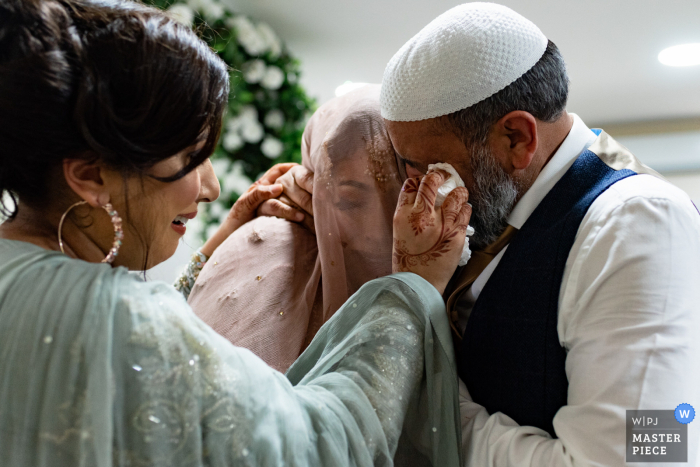 wedding photography from a Private venue, Birmingham, UK of an Emotional father of the bride