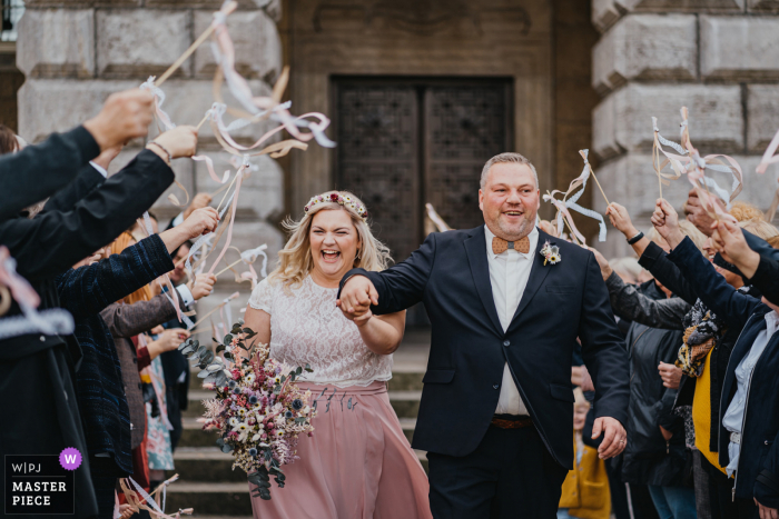 wedding photography from Mülheim, Germany of the happy bride and groom after the ceremony